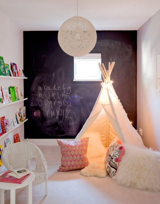Оформление детской комнаты, вигвам